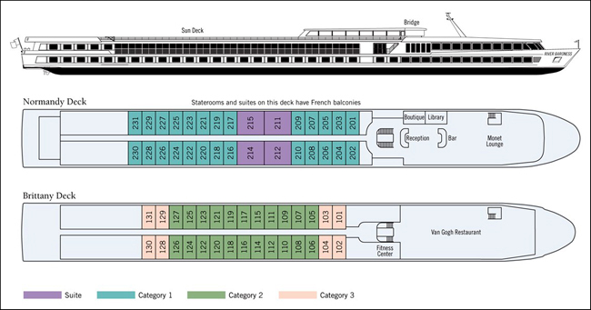 River Baroness France Cruises Deck Plan
