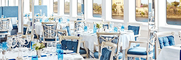 Dining aboard River Royale