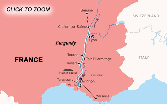 France Cruises Burgundy and Provence Map