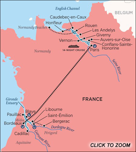 A Portrait of Majestic France Cruise Map